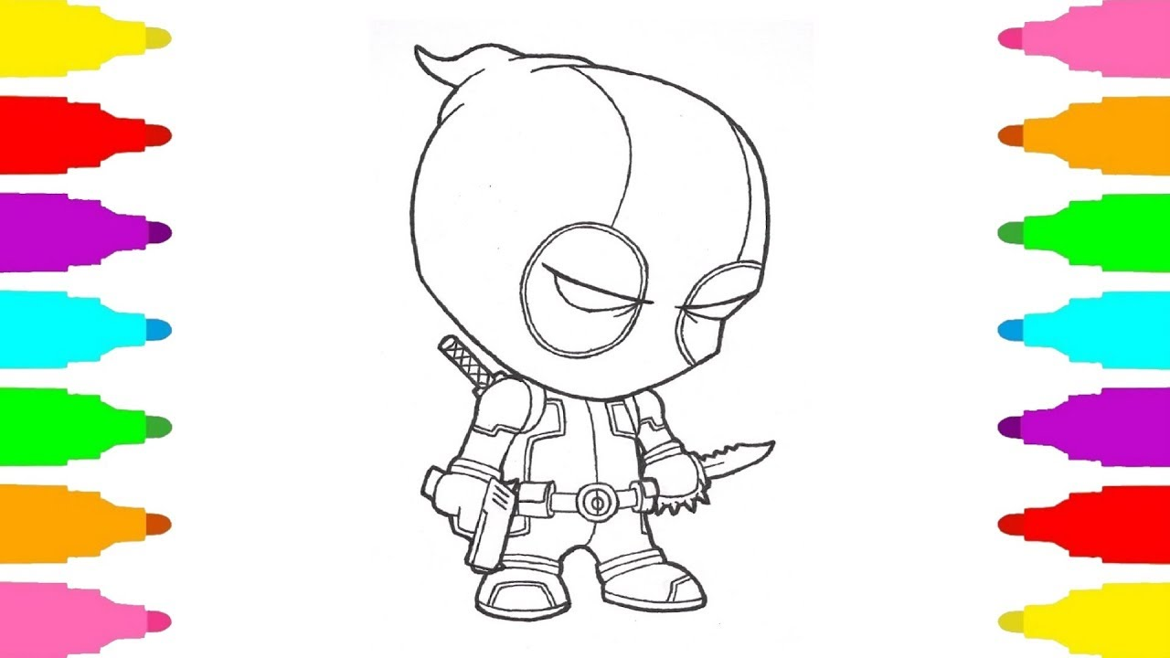 How to draw Baby Deadpool Marvel Superheroes Coloring