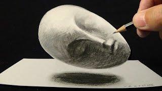 How to Draw Sleeping Muse - Brancusi's sculpture - Trick Art on Paper - VamosART