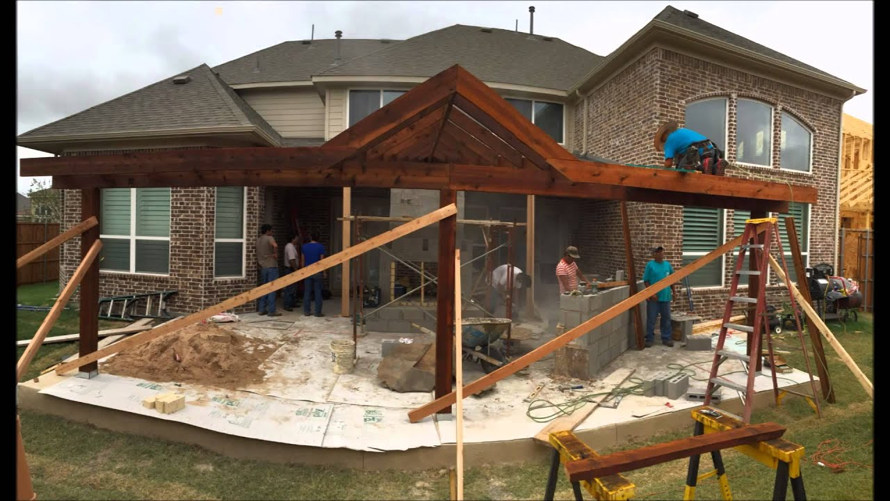 custom designed patio cover and outdoor living area in frisco tx