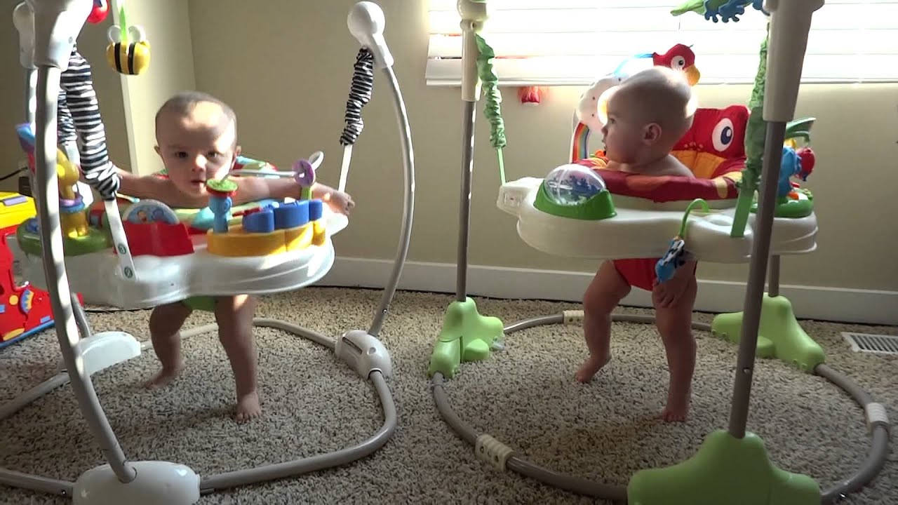 Rainforest Jumperoo Identical Twins - YouTube