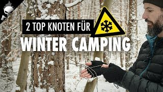TOP KNOTS IN WINTER ⚠️ Siberian and Truckie's Hitch at the Ridgeline for Tarp Setup [GER]