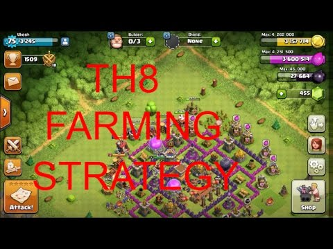TH8 FARMING ATTACK STRATEGY/CHEAPEST ONE/BARBIAN MINION ARCHER(BAM)
