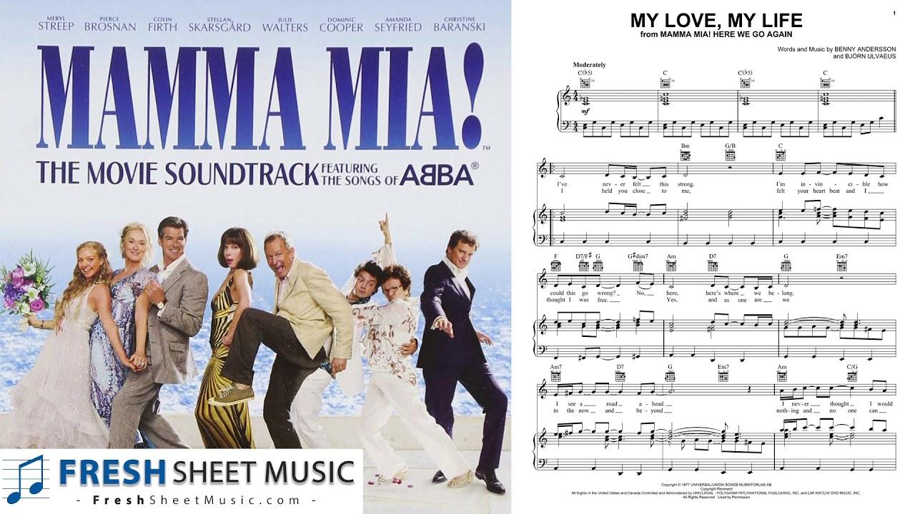 Mamma Mia My Love My Life Sheet Music Piano Notes Chords