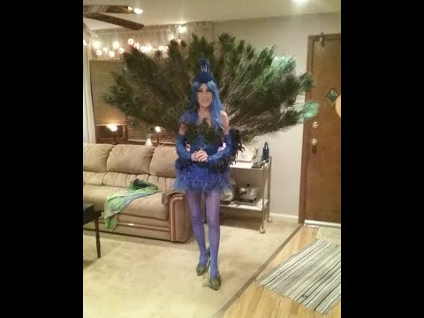 Glamorous Peacock Costume With  Tail, Shoes, Corset,  Gloves, Headpiece