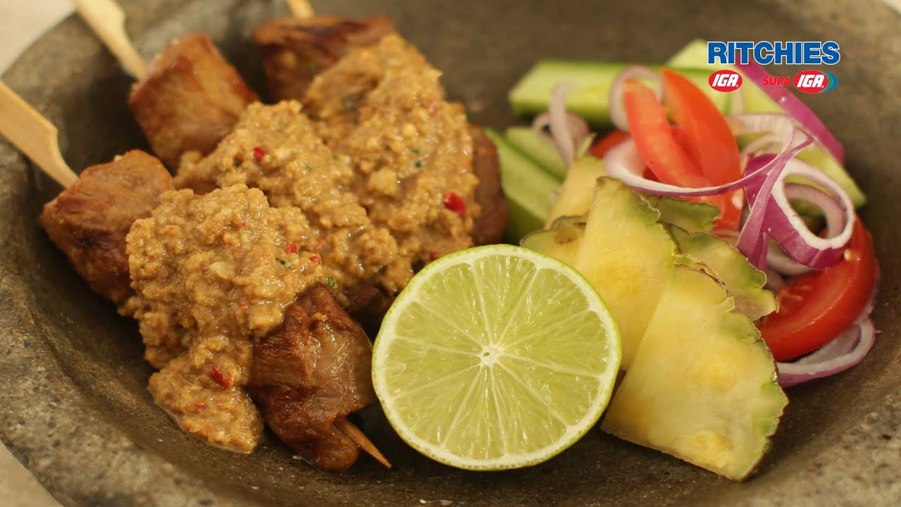 Indonesian beef satays with traditional peanut sauce - YouTube