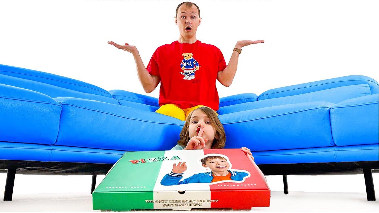Макс и Катя не дают папе съесть всю пиццу
