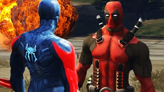 FUTURE SPIDERMAN 2099 vs DEADPOOL!?! | GTA 5 Amazing Battles