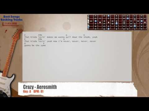 Crazy - Aerosmith Guitar Backing Track with chords and lyrics