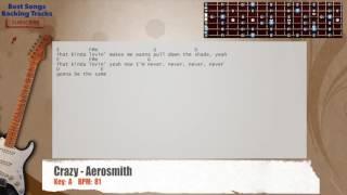Crazy Aerosmith Guitar Backing Track With Chords And Lyrics