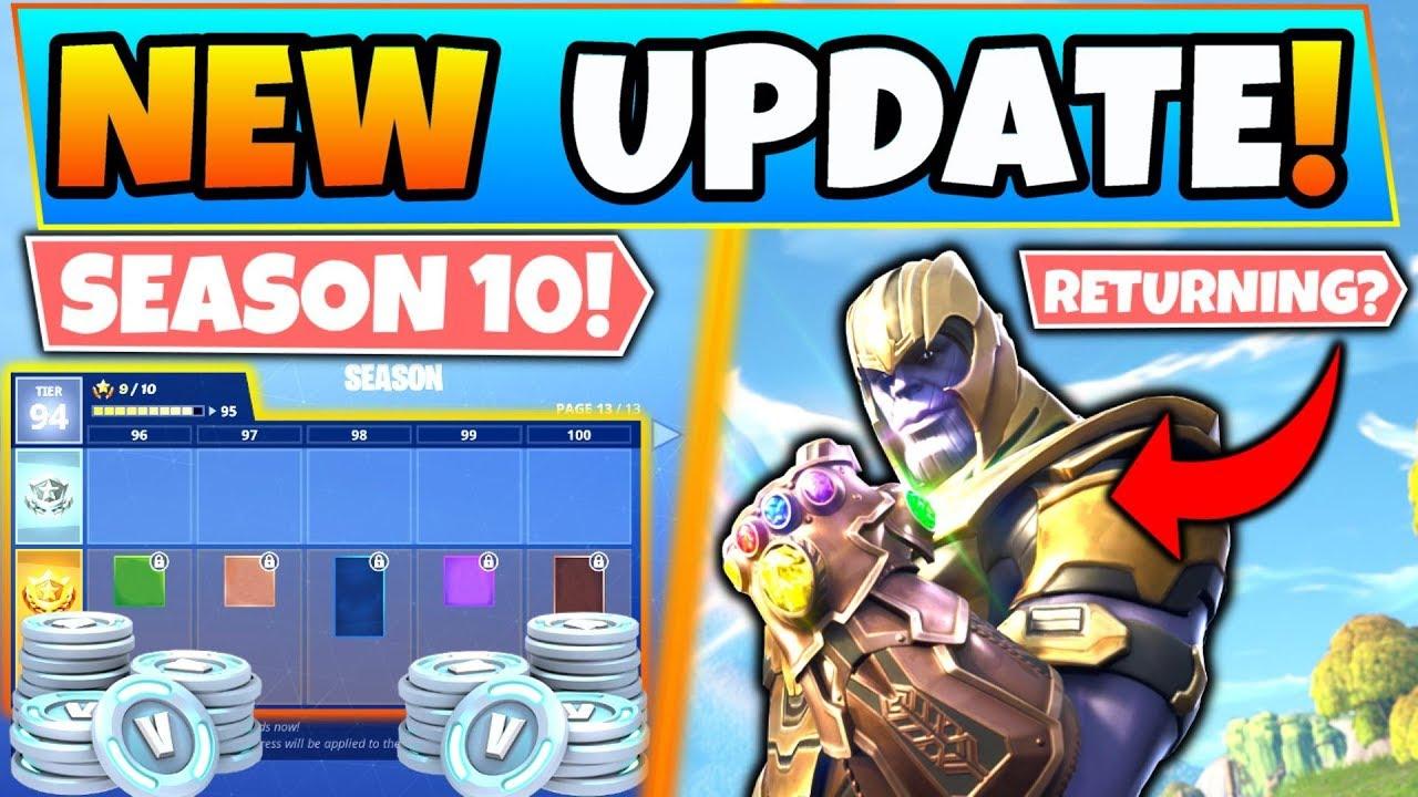 NEW Fortnite Update: SEASON 10 BATTLE PASS/Vbucks & Thanos ...