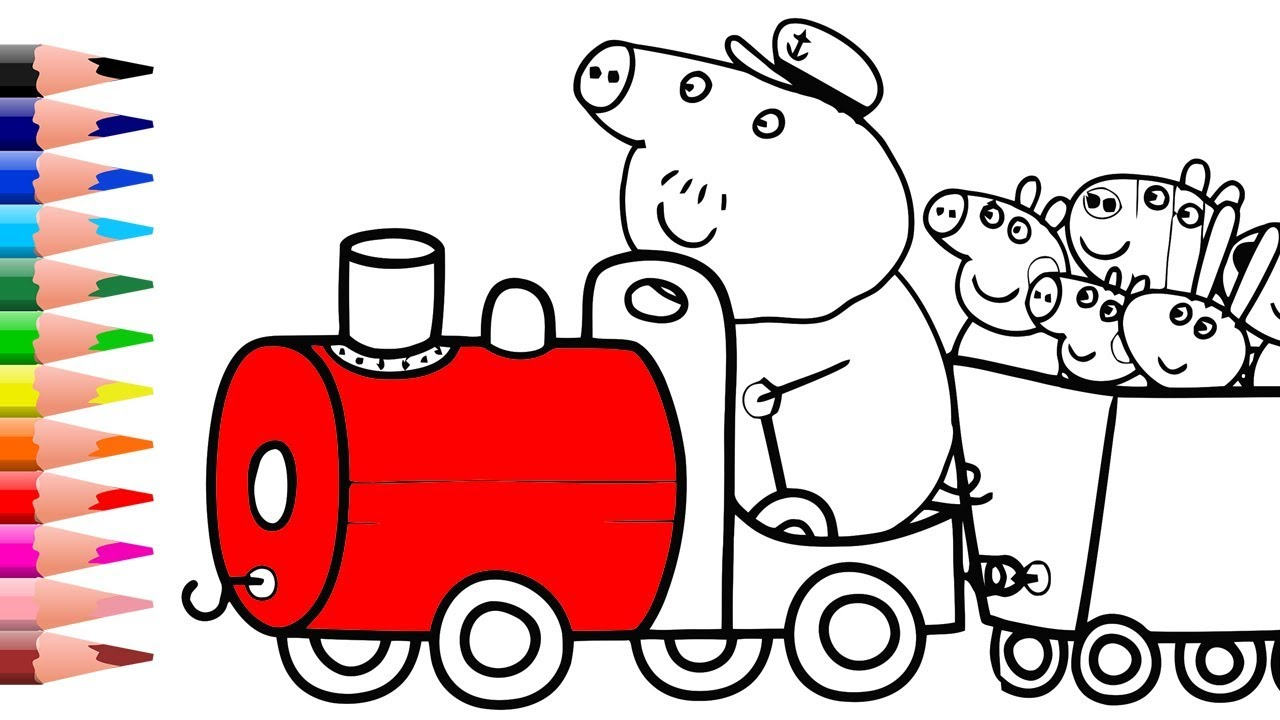 Learn Colors with Peppa Pig Family in Train Coloring Pages How to ...