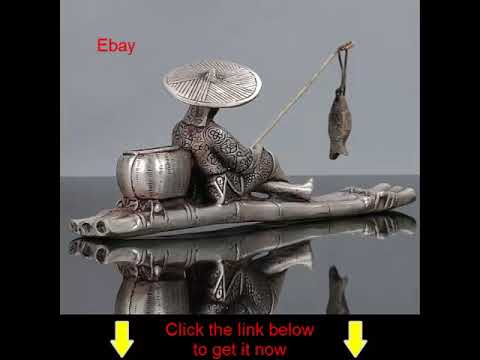 Old Chinese Tibet Silver Hand Carved Fisherman and His Bamboo Raft