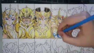 Speed Drawing - 12 Gold Saints (Saint Seiya)