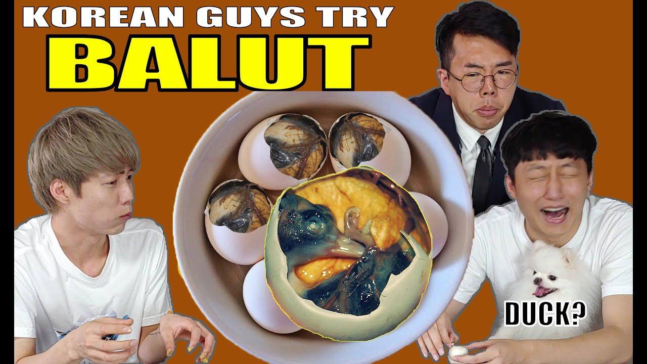 """Korean Guys try """"BALUT"""" DUCK EMBRYO? (ENG SUB) Mukbang/ASMR"""