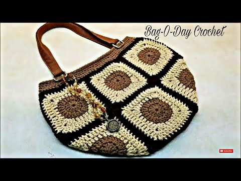 Learn How To #Crochet 10 Granny Square Bag Purse TUTORIAL #389 supersaver