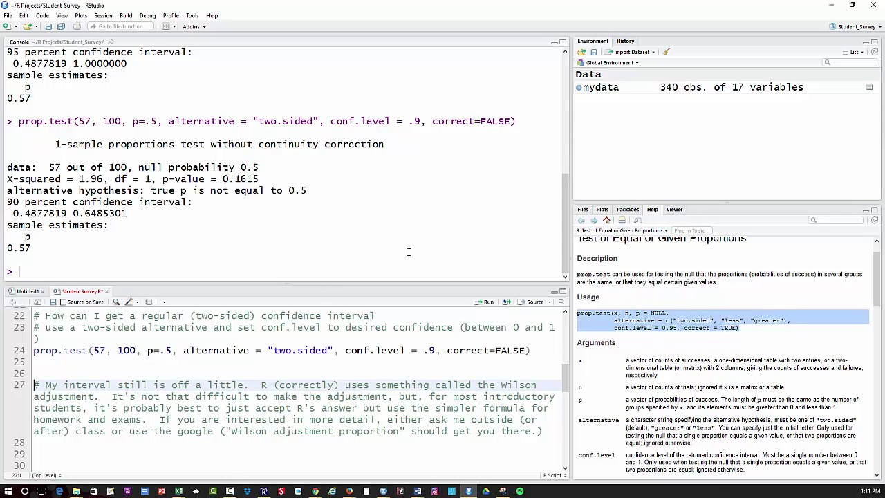 1 proportion z test (and confidence inetrval) using R - YouTube