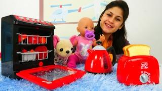 Ayşe Gül ve Loli için kahvaltı hazırlıyor 👩🍳 Oyuncak bebek bakımı👶 Yemek pişirme oyunları
