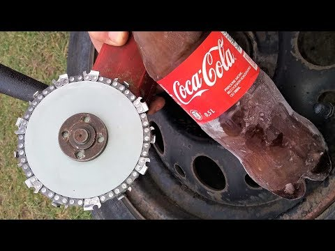 EXPERIMENT GRINDER LIKE CHAINSAW CUTS FROZEN COCA COLA