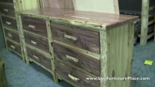 Red Cedar 6 Drawer Log Dresser By Diamond Point   Red Cedar Cabin Furniture From Jhe's