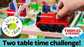 Thomas Train DOUBLE TRACK TIME CHALLENGE! Thomas Train with Brio and KidKraft | Toy Trains for Kids