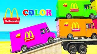 Learn COLORS MCDONALD'S TRUCK Transportation w Spiderman car cartoon for kids Nursery RhymeS