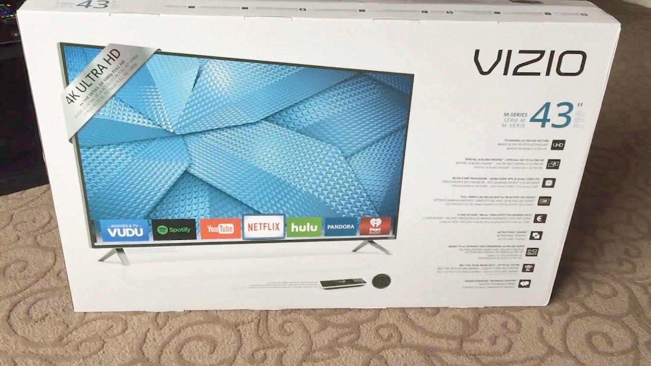 vizio tv 43. vizio m43-c1 43-inch 4k ultra hd smart led tv unboxing-reviewsontherun vizio tv 43