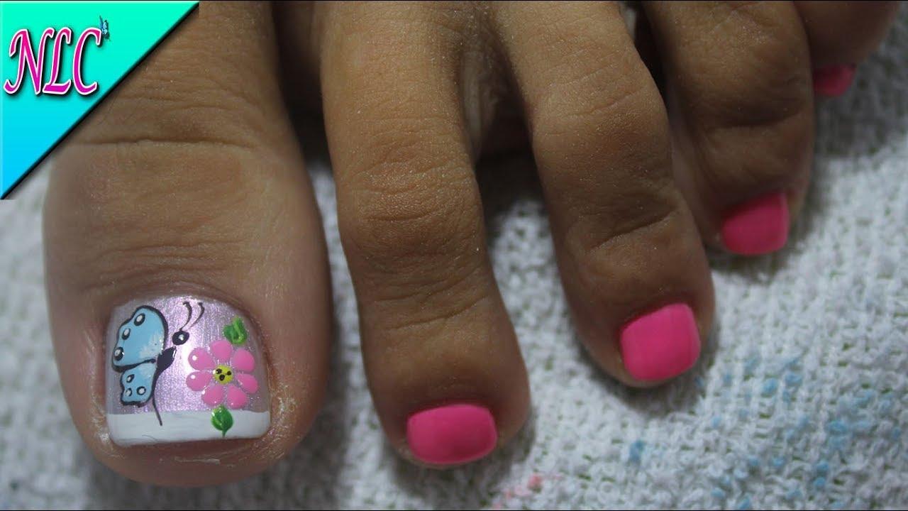 Decoración De Uñas Para Pies Mariposa Y Flor Flower Nail Art