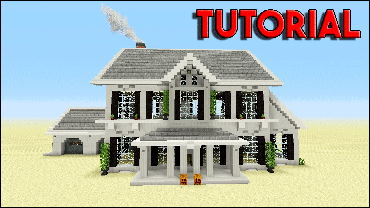 Minecraft tutorial how to build a suburban house top for Big modern house tutorial