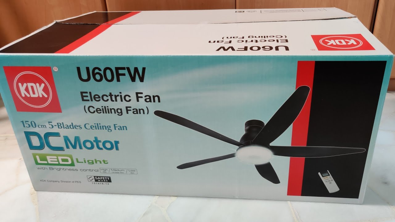 Kdk Ceiling Fan U60fw With Dc Motor Led Lights And Remote Black Youtube