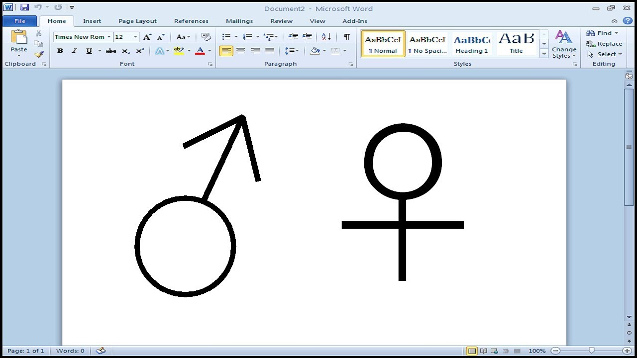 How To Type Male And Female Symbol In Microsoft Word Youtube