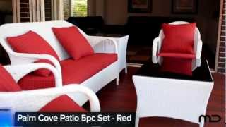 Palm Cove Patio 5pc Set - Outdoor Rattan Wicker - Red - Milan Direct