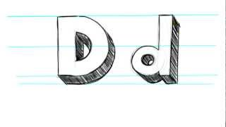 How to Draw 3D Letters D - Uppercase D and Lowercase d in 90 seconds