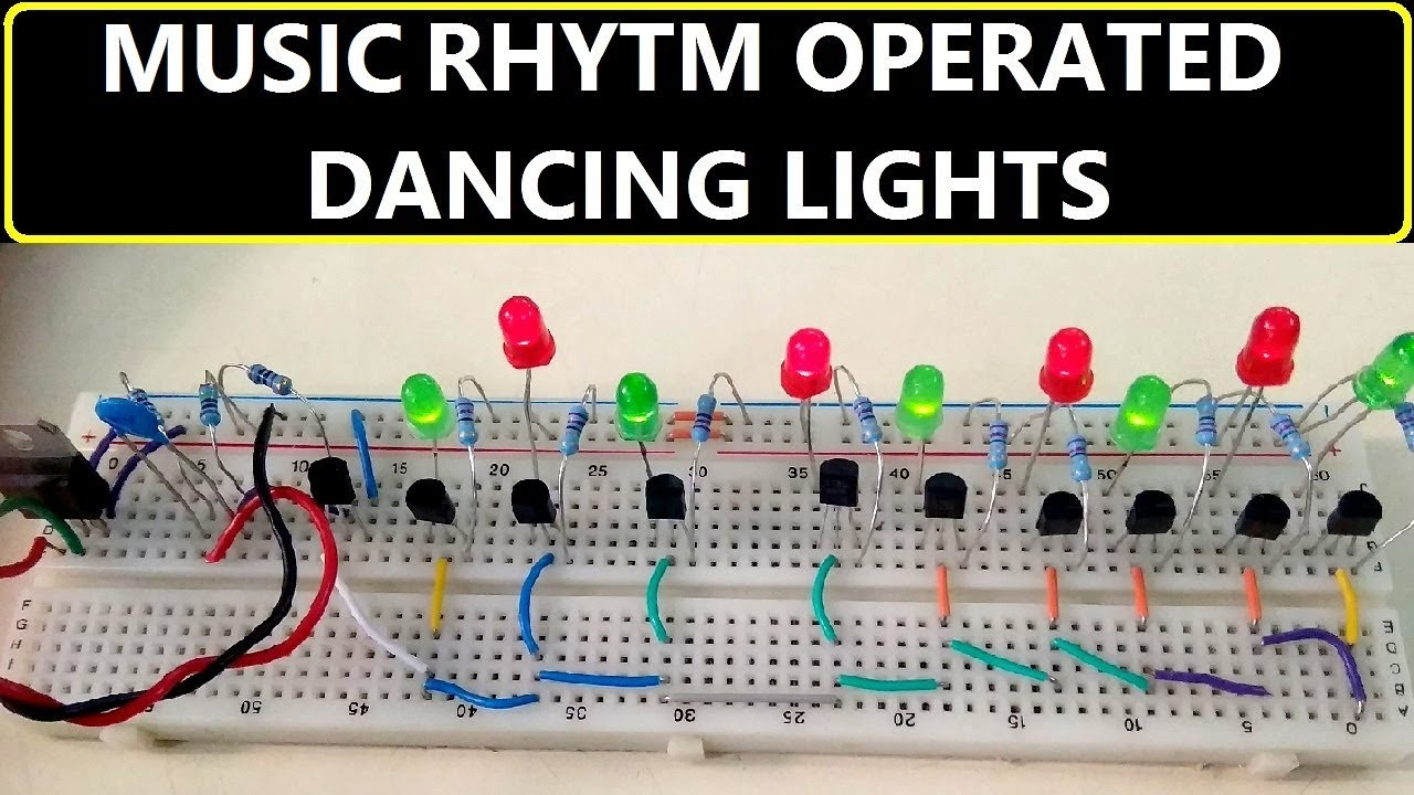 music rhythm operated dancing light using transistors circuit [ 1280 x 720 Pixel ]
