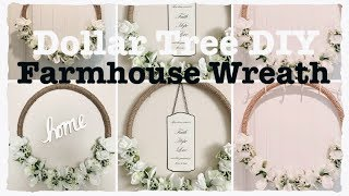 DOLLAR TREE DIY Farmhouse Decor HULA HOOP Rustic Wreath || Wedding Decor|| Jumbo Wreath EASY Less t