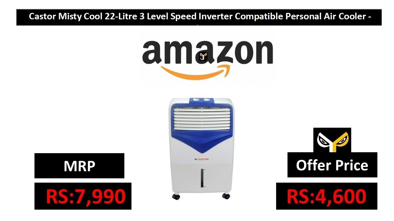 Castor Misty Cool 22-Litre 3 Level Speed Inverter Compatible Personal Air  Cooler - White