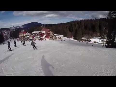 Snowboard fun on a dirty slope