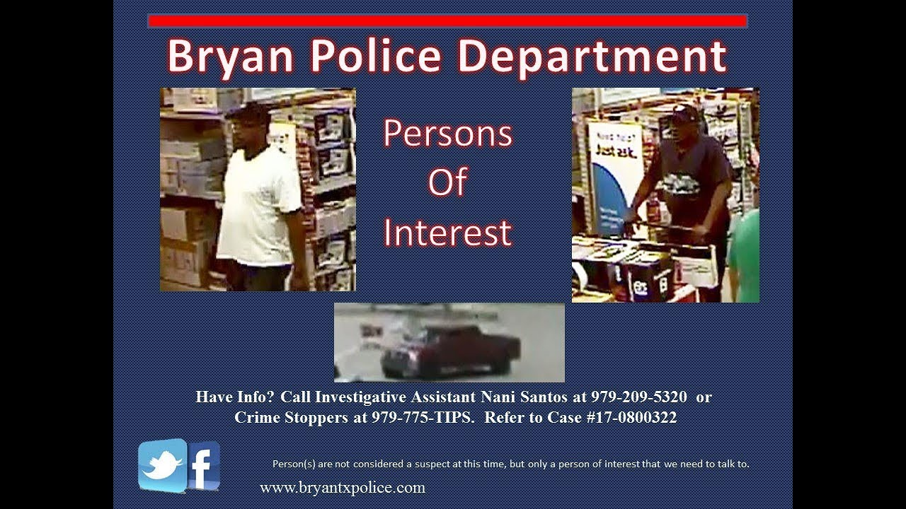 Persons of Interest – City of Bryan, Texas