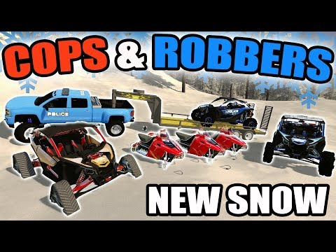 FARMING SIMULATOR 2017 | SNOWMOBILE & TRACKED CAN-AM COPS & ROBBERS AT NIGHT | MULTIPLAYER