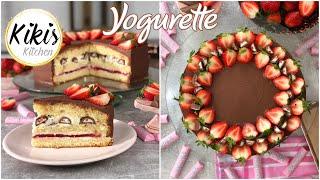 Yogurettetorte | Yogurette Torte mit Erdbeeren | Sahnecreme Fruchteinlage Erdbeertorte | Fruchttorte