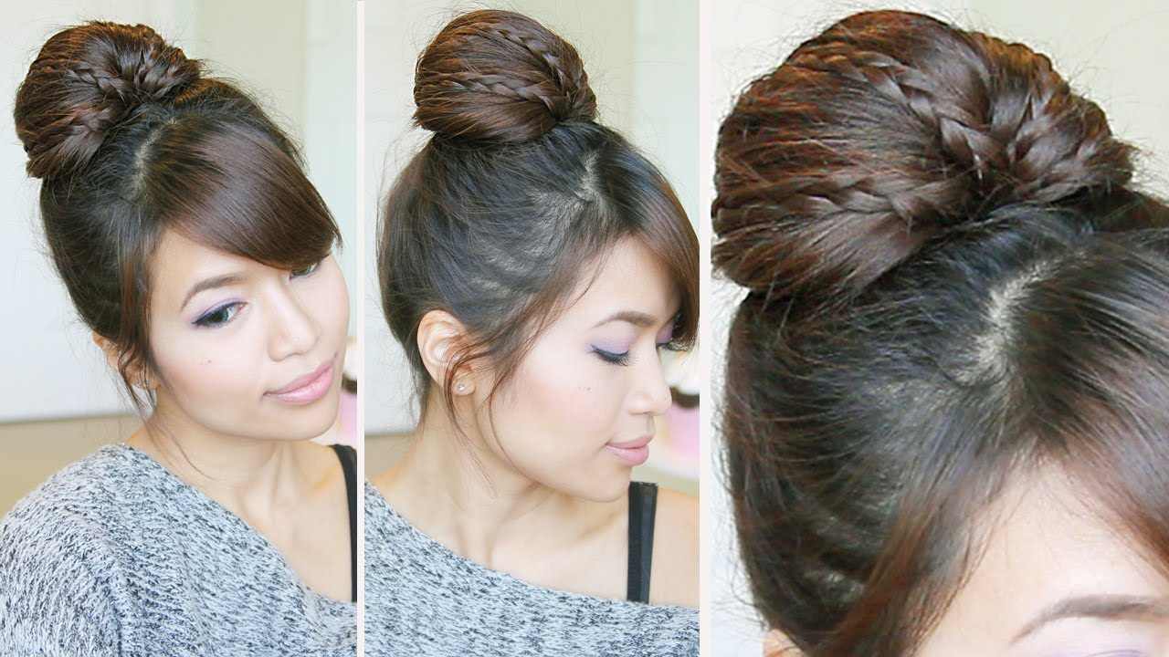 braided fan bun updo hairstyle