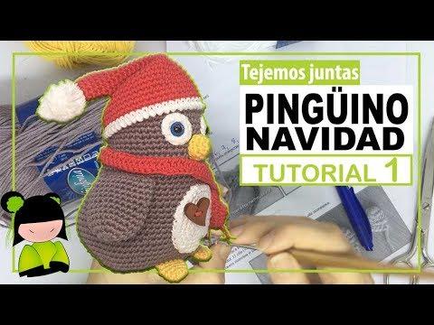 AMIGURUMI DE NAVIDAD 🎄 PINGÜINO PAPA NOEL navideño 🐧 Tutorial 1