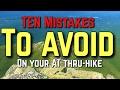 Ten Mistakes to avoid on the Appalachian Trail