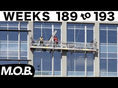 5-week construction time-lapse: Weeks 189-193 (M.O.B. edition): Sunshades, last curtain wall