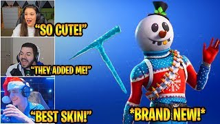 Streamers React to *NEW* Slushy Soldier (SNOWMAN) Skin & Icicle Pickaxe! Fortnite Funny Moments