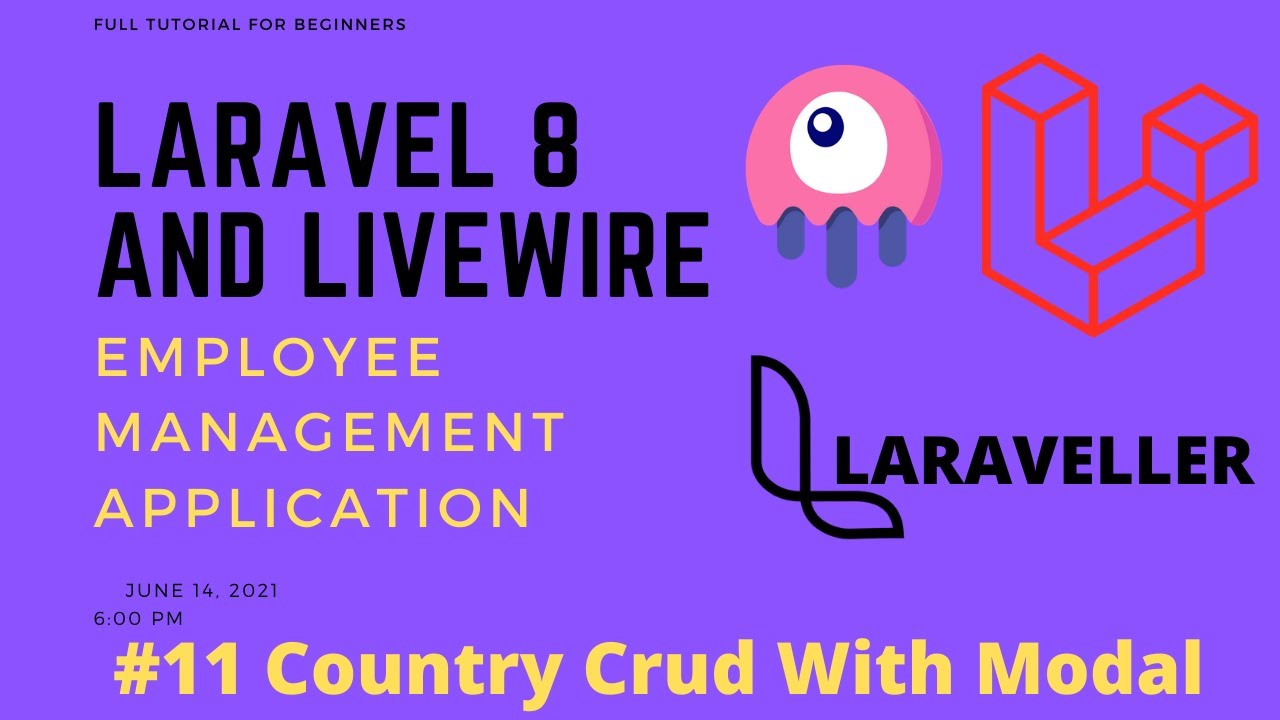 11 Laravel Livewire Tutorial - Employees Management Project - Country Crud with Modal