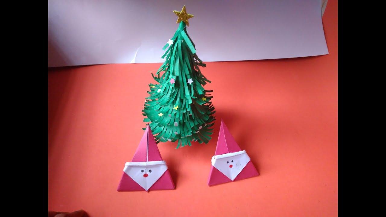 Diy Christmas Tree And Cute Small Paper Santa Claus