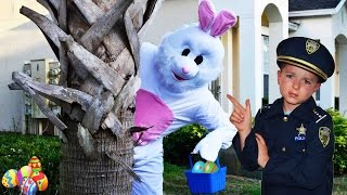 Buster Bunny RUINS Easter Egg Hunt! Bad Bunny vs Kid Cops! Brothers save Easter! Silly Family Fun