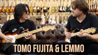 Tomo Fujita and Michael Lemmo with two 1958 Fender Stratocasters at Norman's Rare Guitars