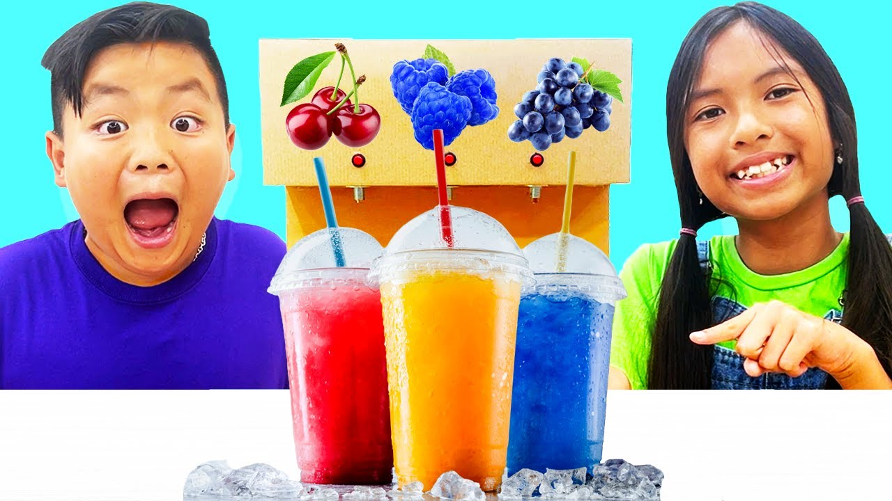 Alex and Wendy Pretend Play Funny Stories About Selling Snow Cone Fruit Treats | Toys for Children