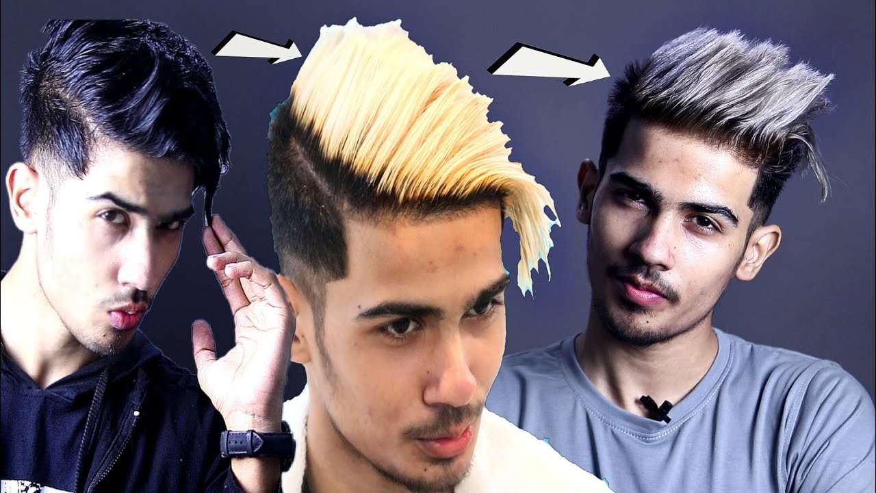 Best Hair Transformation Video For Men From Black Hair To Blonde To Ash Grey Hair Men